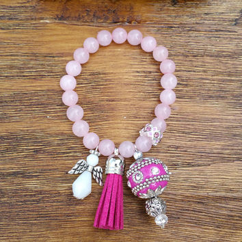 Tassel Collection-Pink Leather Tassel/Pink Rose Quartz Beaded Hand Made Bracelet