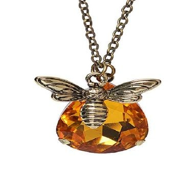 Copper Crystal Lovely Bumble Bee Pendant Necklace