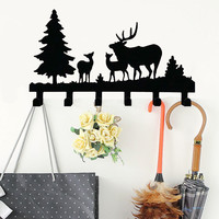 Cute Deer Wall Hook Rail Rack Coat Clothes Hanger Organizer