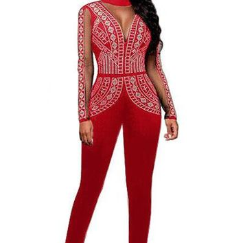 Red Steampunk Studded Pattern Mesh Insert Jumpsuit