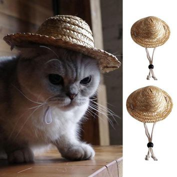 New Arrival Farmer Straw Hat Cat Summer And Spring Puppy Teddy Dog Neko Pet Accessories