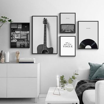 Silence Time Black Shelf Album Casette Player Guitar Letters LP Record Modern Posters Pictures Nordic Wall Art Canvas Paintings