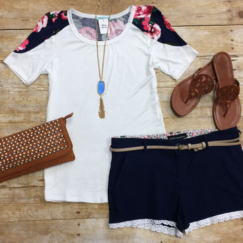 Floral Sleeve Top: White