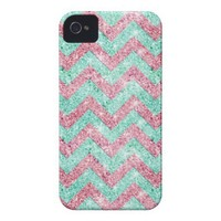 Chevron Pattern, pink & teal glitter photo print Iphone 4 Case-mate Case from Zazzle.com