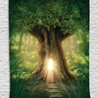 Mystic Fairy Tree of Life Enchanted Forest Mystical Lights Digital Printed Tapestry Wall Hanging