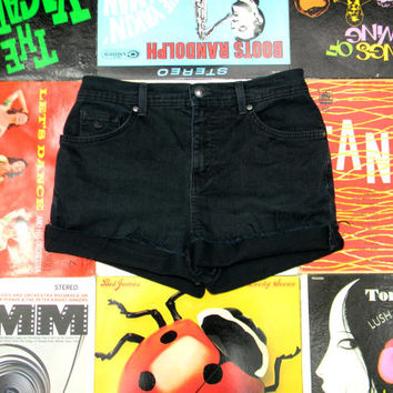 High Waisted Denim Shorts - 90s Black Stretch Jean Shorts - High Waist, Cut Off, Frayed, Rolled Up GLORIA VANDERBILT Brand Shorts Size 4 S