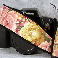 Roses Camera Strap with Pocket, Heirloom Vintage Pink and Gold Roses, SLR, 41 cw