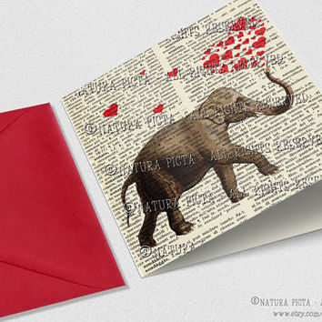Elephant love Square Greeting Card with envelope- 5.67x5.67 inches - Invitation Birthday card - Design by NATURA PICTA NPSGC003