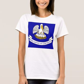 Women T Shirt with Flag of Louisiana State