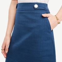 Textured Button Tab Skirt | Ann Taylor