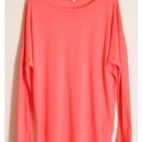 Oversized Long Sleeve-Hot Pink