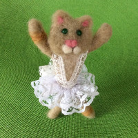 Needle felted Kitten figurine cat animal felting cat felting unique gift one of a kind cute miniature fiber art ballerina wool dancer OOAK