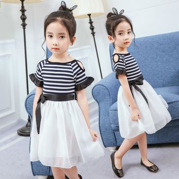 100~160 size 7 years old girls clothes summer dresses children costume 2017 striped ball gown