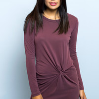Alexa Side Twist Long Sleeve Wine Dress