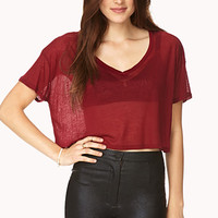 Sheer Boxy Crop Top