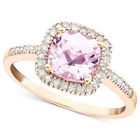 10k Rose Gold Ring, Pink Amethyst (1-1/3 ct. t.w.) and Diamond (1/5 ct. t.w.) Cushion Cut Ring - Rings - Jewelry & Watches - Macy's