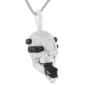 Sterling Silver Skull Face Pirate Snake Tongue Iced Out Pendant