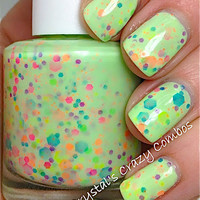 NEW Neon--Green Genie:  Custom-Blended NEON Glitter Nail Polish / Lacquer