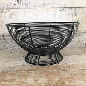 Metal Basket Black Wire Basket Black Metal Wire Basket Rustic Basket Farmhouse Chic Kitchen Storage Basket Fruit Basket Centerpiece Base