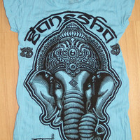 Women's Yoga Tee Ganesha by SureFashionInc
