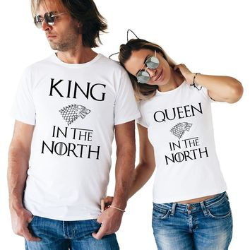 Trendy Game of Thrones King Queen In The North T Shirts Valentine Men Women Couple Clothes Lovers T-Shirts Funny Tshirts Tops Tees AT_94_13