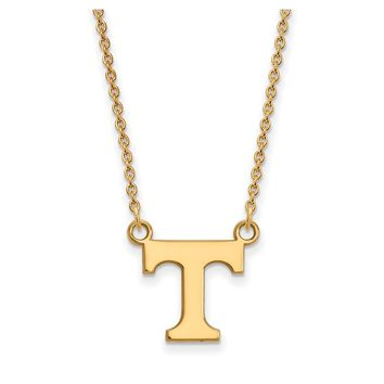 NCAA 10k Yellow Gold U of Tennessee Small 'T' Pendant Necklace