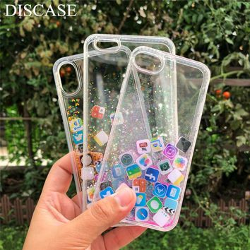 DISCASE Stylish Funny Mobile Application Icons Phone Case For iphone X 8 7 6 6s plus Flashing Dynamic Liquid Quicksand Back Case