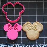 Minnie Mouse Inspired Polka Dot Bow Cookie Cutter Stamp Set Pink BPA FREE