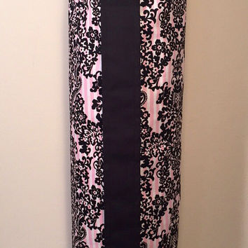 Handmade Yoga Bag, Mat Tote, Carrier - READY TO SHIP! Pink & White Stripe with Black Print, Fully Lined with Black Canvas