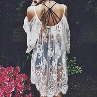 2015 Summer Women Vestidos Hippie Boho Embroidered Floral Bohemian Sexy Lace Crochet Beach Wear Mini White Black Maxi Dress 9405