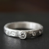 silver carved rustic diamond ring