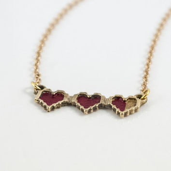 Legend of Zelda: Pixel Hearts pendant
