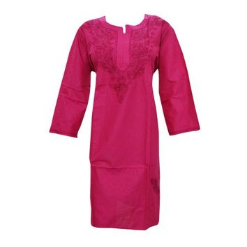 Mogul Womans Tunic Caftan Dress Pink Embroidered Cotton Kurta XXL - Walmart.com