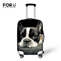 3D Cute French Bulldog Waterproof Luggage Protective Dust Covers Fof 18 20 22 24 26 28 30 inch Trolley Travel Suitcase Elastic
