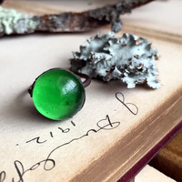 Size 6.75 - Green Glass Orb Electroformed Copper Ring