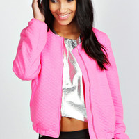 Hollie Neon Quilted Bomber Jacket