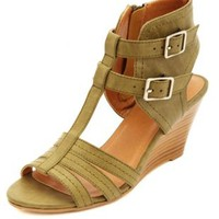 T-Strap Ankle Cuff Wedge Sandals by Charlotte Russe - Khaki