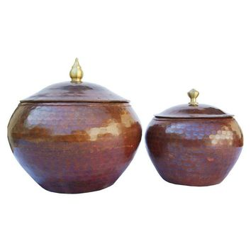 Pre-owned Hammered Copper Pots - A Pair