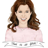 Gretchen Wieners from Mean Girls watercolour portrait PRINT Lacey Chabert ''That is so fetch!''