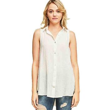 Off-White Button Down Sleeveless Shirt