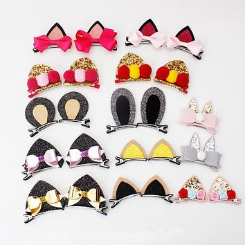 2pcs New Stereo Double Cat Ears Clip With Sequins Ears Girls Hair Clips Cute Rabbit Ears Shape Hairpins in Kids Hair Accessories