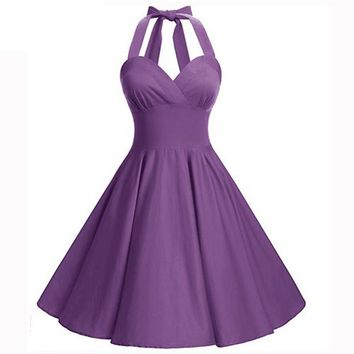 Sexy Halter Rockabilly Vintage Purple dress