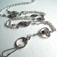 Silver Chain Crystal ID Badge Lanyard, Silver Open Heart