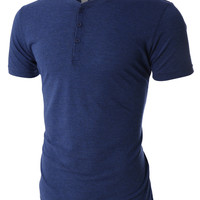 LE3NO PREMIUM Mens Lightweight Tri-Blend Short Sleeve Henley Shirt