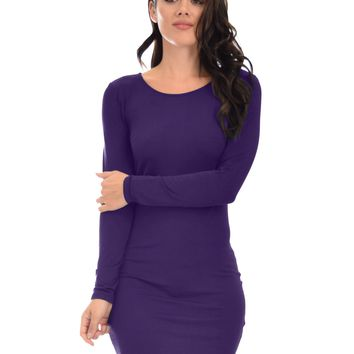 Lyss Loo Comeback Baby Long Sleeve Purple Bodycon Dress