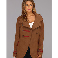 Free People Boiled Wool Military Peacoat