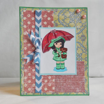 Spring Card, Paper Handmade Greeting Card, Rain and Vintage Looking Paper, Spots and Stripes, Green Pink and Blue