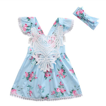 2pcs Floral Lace Dress baby clothes Newborn Toddler Kids Baby Girl Floral Dress Princess Lace Dresses