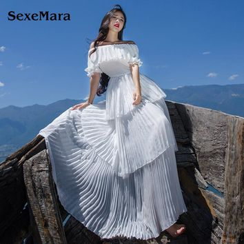 SexeMara 2017 New Women Summer Off Shoulder Cake Ruffles Maxi Dress Pleated Split Long Dress Elegant Party Boho Chiffon Dresses