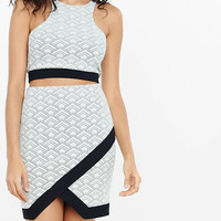 Deco Jacquard Asymmetrical Mini Skirt from EXPRESS